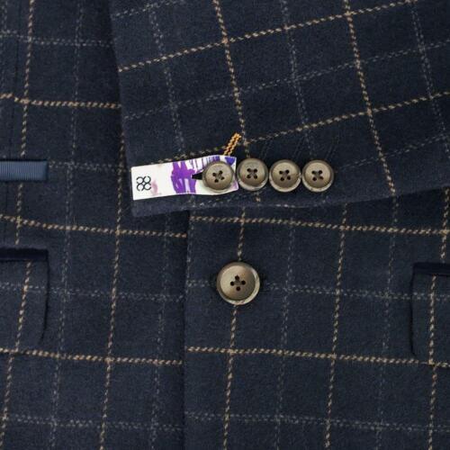 Mens Cavani Tweed Check Herringbone Peaky Blinders Wedding Fitted 3 Piece Suit