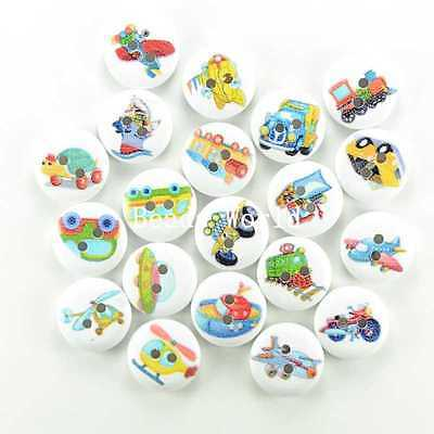 100 Pcs Wood Buttons Sewing Scrapbooking 2 Holes Mixed Transport Pattern 15mm