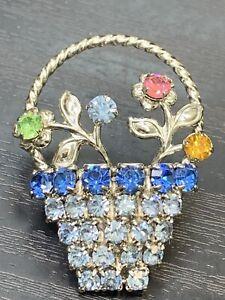 Vintage-Pin-Brooch-Nice-Prong-Set-Rhinestone-Pastel-flower-basket-1-5-Tall