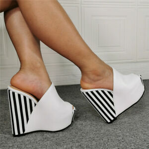 Women-039-s-Peep-Toes-Wedge-Striped-Sandals-Summer-Slingback-Super-High-Heel-Slipper