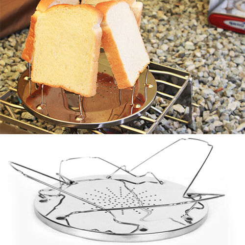 Sn /_ Acier Inoxydable Portable Pliable Camping BBQ Grille-Pain Rack Toast Bread
