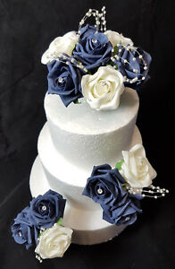 Details About Wedding Anniversary Party Birthday Cake Topper Set Ivory Navy Blue Rose Pearls