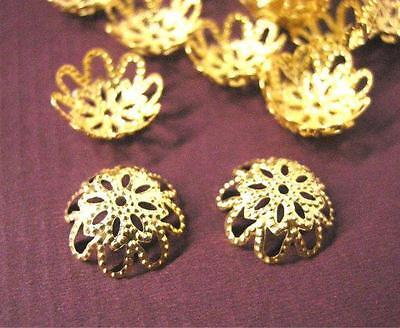 25pc 13mm antique bronze filigree bead caps-619
