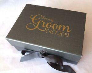 A5 DEEP BLACK PERSONALISED GIFT BOX VALENTINES WEDDING GROOM HUSBAND BIRTHDAY