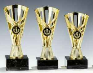 3er-Serie Sport-Pokale mit Wunschgravur/Emblem, gold (59151)