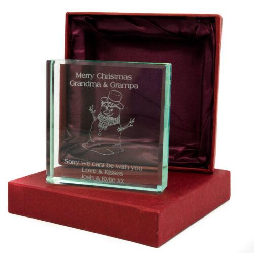 Gift Box Personalised Jade Glass Block Christmas Snowman Design Laser Engraved