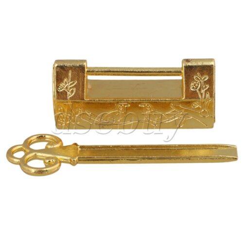 OR//BRONZE style chinois Boîte à bijoux sculptée Oiseau Fleur Feuille cadenas clés