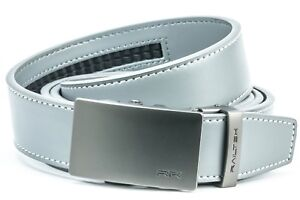turkey made no holes needed Mens Black /& Silver Metal Buckle Leather Automatic belt leather 1 size fits all