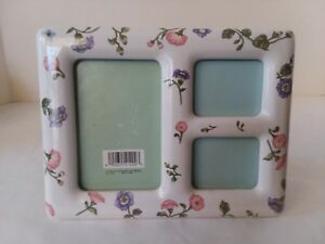 White-Ceramic-Floral-Flower-3-Section-Picture-Frame-2-1-2-034-x-3-3-4-034