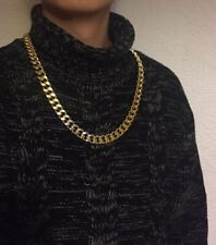 """28"""" 15mm Gold Plated Aluminum Gangsta Hip Chain No Stone Necklace Birthday Gift"""