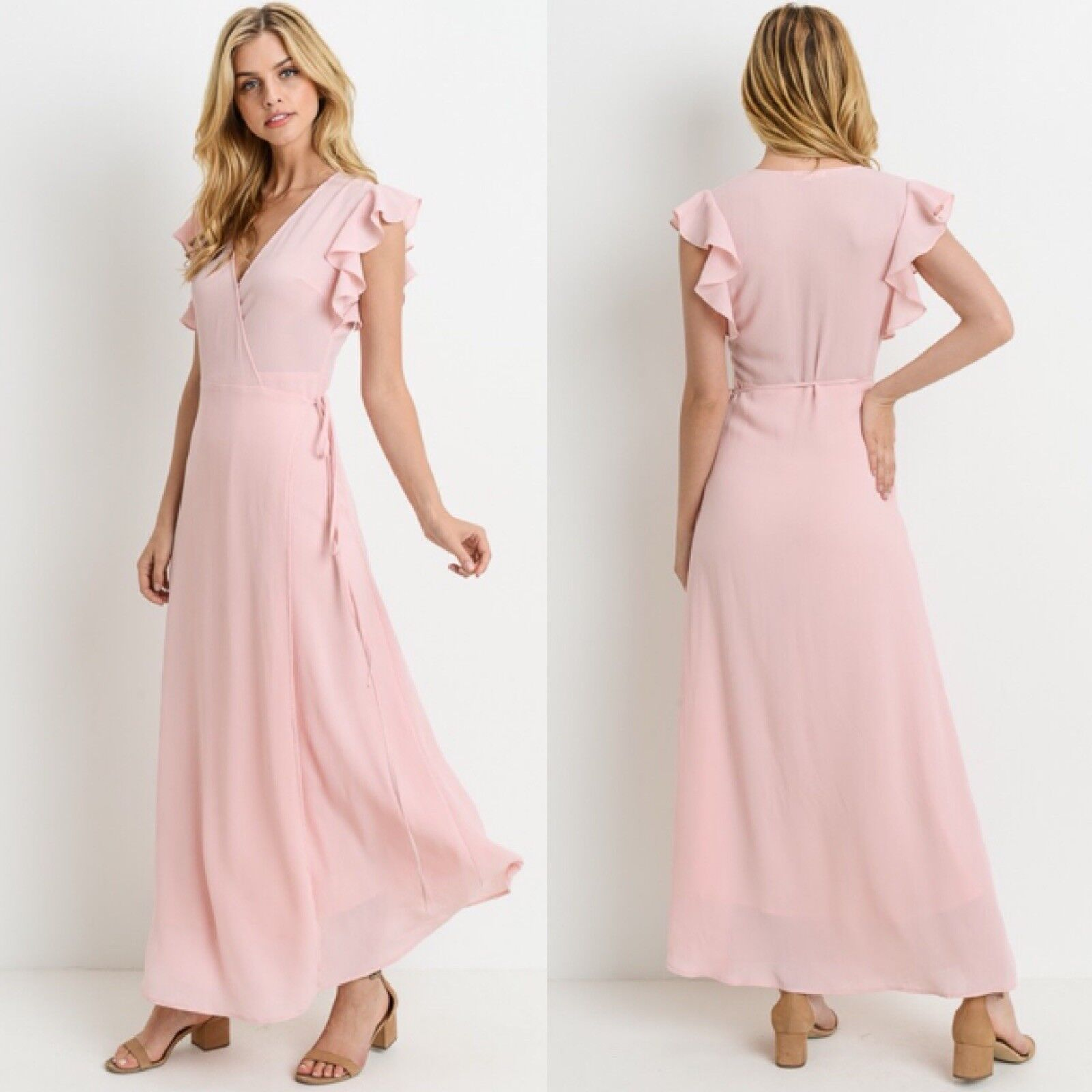 NEW bluesh Pink Womens Large Wrap Maxi Dress Ruffle Shoulders Boutique