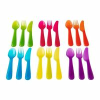 18-pc Set 6 Colors Rainbow Kids Plastic Silverware Flatware Forks Knives Spoons