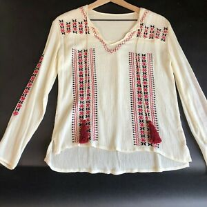 Womens-Tassel-Keyhole-Top-M-Ivory-Embroidered-Long-Sleeve-V-Neck-Peasant-New