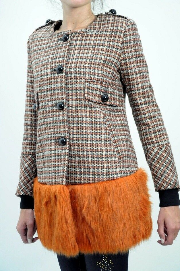 IMPERIAL  Stunning pixel fabric with faux fur hem coat S