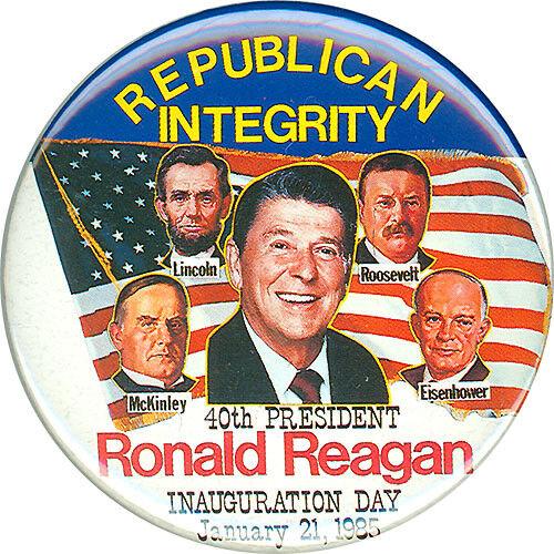 1985 Ronald Reagan REPUBLICAN INTEGRITY Inauguration Button 1654