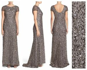 84a8f285 NWT Adrianna Papell Short Sleeve Sequin Mesh Gown Lead [ 4 6 10 12 ...