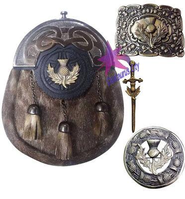 Bellissimo Cc Kilt Scozzese Sporran Cardo Heritage Fibbia / Kilt Pin Plaid Spilla Antico