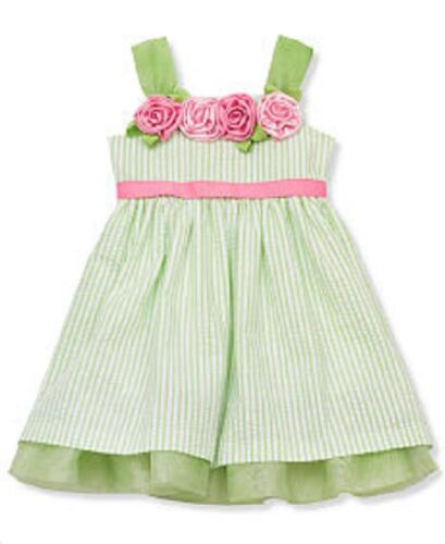 Rare Editions Green Striped Seersucker Floral Dress with Tiered Hem