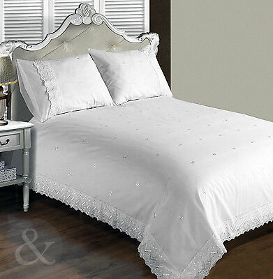 Vintage Lace Duvet Cover - White Bedding Embroidered Broderie Anglaise Bed Set