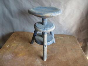 Dettagli su antico Piccolo sgabello a vite patina blu SHABBY fabbrica  atelier pianoforte