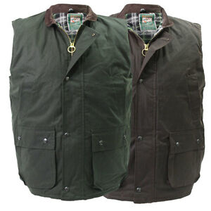 High-Mount-Wax-Waistcoat-100-Cotton-Oilskin-Gilet-Bodywarmer-Country-Farm-Vest
