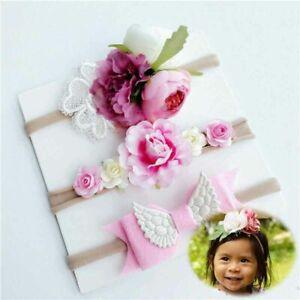 Details about  /3 Pcs  Newborn Headband Cotton Baby Print Floral Girls Bow-knot Elastic