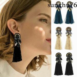 Women-Boho-Fashion-Dangle-Long-Tassel-Earrings-Fringe-Crystal-Ear-Drop-Jewelry