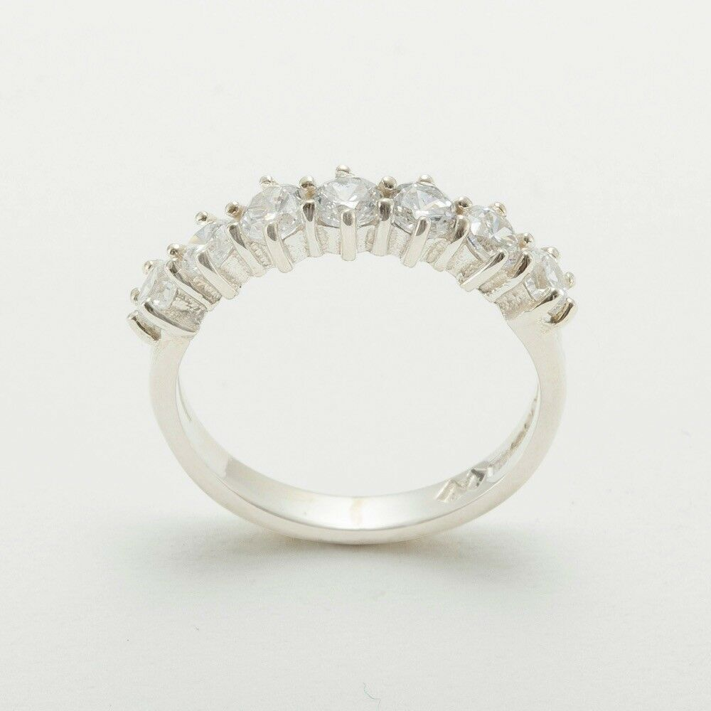 9k White gold Cubic Zirconia Womens Eternity Ring - Sizes 4 to 12