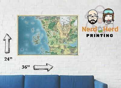 Map of West Faerun Forgotten Realms Sword Coast Multi Szs and Paper  11x17-24x36