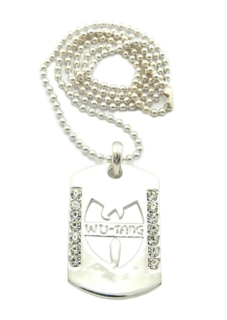 """New Iced Out WU TANG Dog Tag Hip Hop Pendant &30"""" Ball Chain Necklace OP102"""