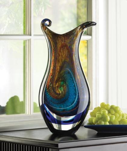 Galaxy Blue Swirl Handmade Art Glass Sculpture Flower Vase Wedding