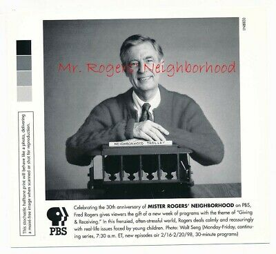 Mr Rogers Neighborhood 30th Anniversary 6 X 6 B W Pbs Press Photo 1998 715 Ebay