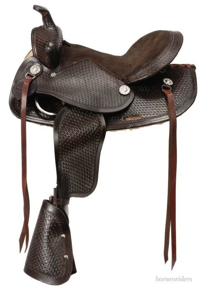 12 Inch Western Saddle - Dark  Oil Leather - Leather Covered Safety Stirrups  credit guarantee