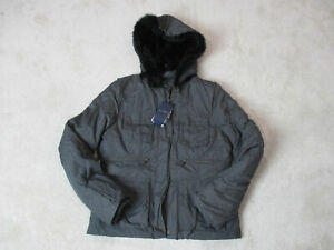 NEW-Armani-Jeans-Jacket-Womens-Large-Size-10-EUR-46-Black-Fur-Hood-Coat-528