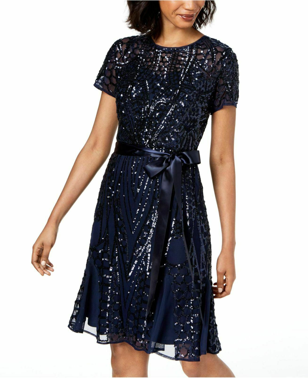 NEW  R&M RICHARDS damen Blau SEQUINED MESH BELTED PLEATED A-LINE DRESS 6