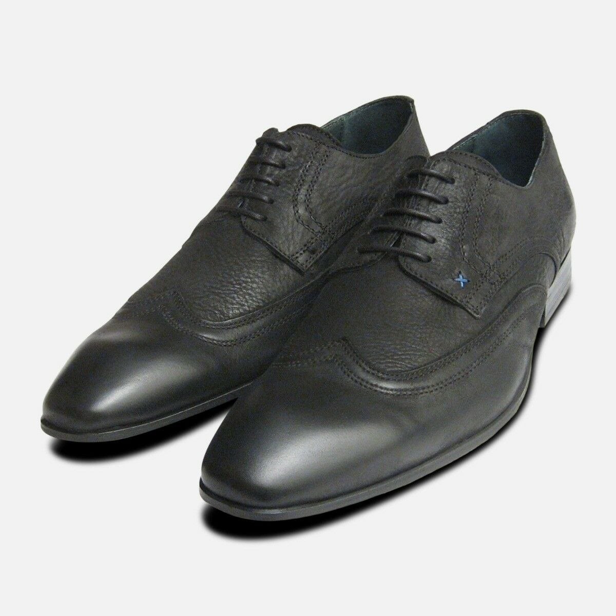 Black Waxy Lace Up Shoes for Men by Designer Brand Exceed