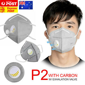 2x P2 PM2.5 Anti Air Pollution Face Mask Respirator W/ Exhalation Valve Mask