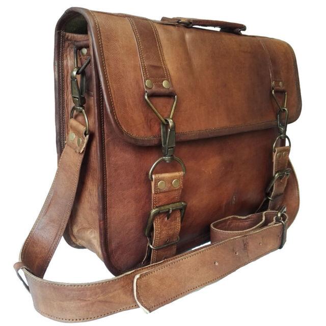 Men/'s New Genuine Vintage Brown Leather Messenger Laptop Shoulder Briefcase Bag