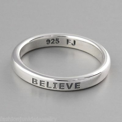 Believe Ring - Engraved Stackable Ring in Sterling Silver *NEW* Faith Hope Band