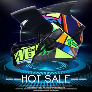 DOT Modular Flip Up Motorcycle Helmet Full Face Dual Visor Motocross Motorbike M
