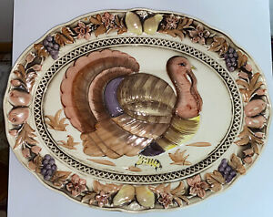 Vintage Lefton Japan Thanksgiving Oval Turkey Platter Plate