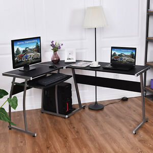 Image Is Loading Corner Desk L Shaped Office Wood Large PC