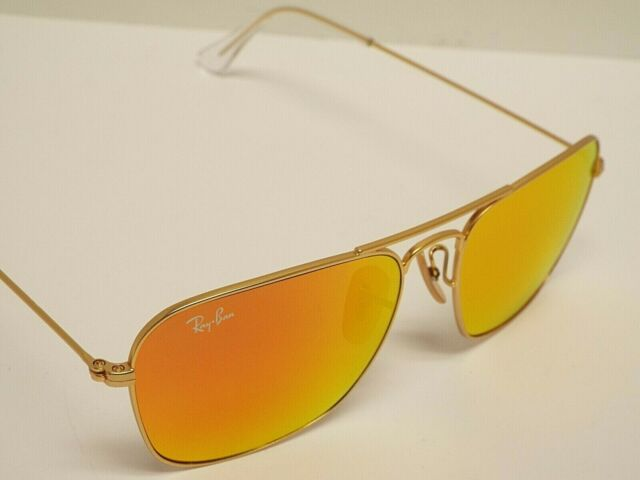 NEW Ray-Ban RB3136 112/69 Caravan Matte Gold Orange Flash Sunglasses $205