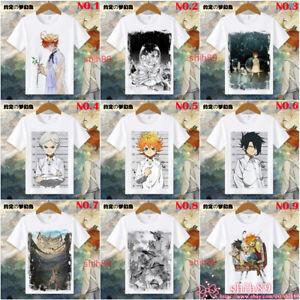 Anime-The-Promised-Neverland-T-shirt-Unisex-Short-Sleeve-Tops-Men-039-s-Cosplay-L87