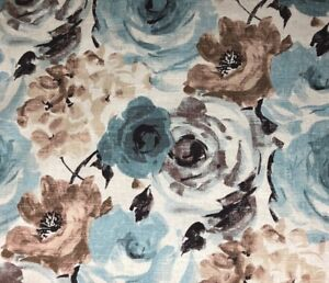 Large-Floral-Robins-Egg-Blue-Cream-Linen-Exclusive-Designer-Fabric-By-The-Yard