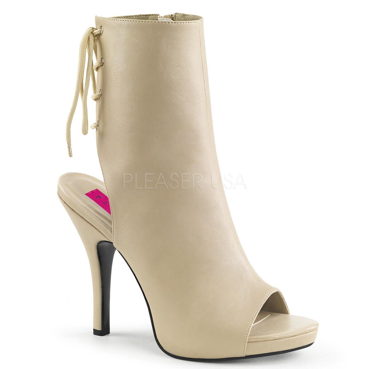 Eve 102 Queen Größe 9-16 Open Toe Ankle Boot Cream Lederette 5
