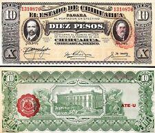 MEXICO 10 PESOS 1914 1915 UNC 2 PCS CONSECUTIVE PAIR EL ESTADO DE CHIHUAHUA S533