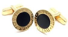 Authentic! Bulgari Bvlgari 18k Yellow Gold Black Onyx Cufflinks