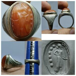 Roman-ancien-belle-Agate-King-intaglio-stone-ring-128