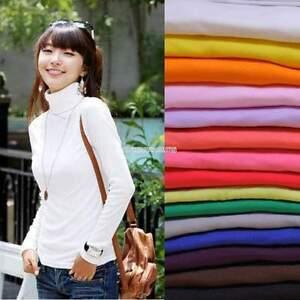 Womens-Turtleneck-Long-Sleeve-Tee-T-Shirt-Basic-Shirt-Sweater-Tops-Pullover-NEU